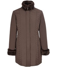 Cc Longline Fur Trim Quilted Coat Brown