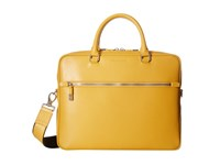Bugatchi Saffiano Leather Two Tone Briefcase Sun Briefcase Bags Yellow