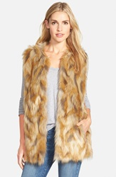 Bernardo Retro Patchwork Faux Fur Vest Brown