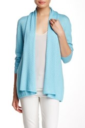 Cullen Wave Stitch Silk Blend Shawl Cardigan Blue