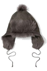 Karl Donoghue Pompom Embellished Paneled Shearling Hat Anthracite