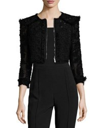 Andrew Gn Cropped Zip Front Lace Bolero Black