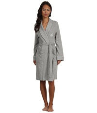 Lauren Ralph Lauren Essentials Quilted Collar And Cuff Robe Grey Heather Women's Robe Gray