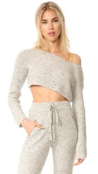Baja East Cashmere Cropped Sweater Light Grey