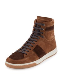 Saint Laurent Colorblock Suede High Top Sneaker Tan Coffee