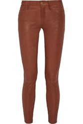 Frame Skinny De Jeanne Leather Pants Brown
