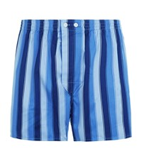 Harrods Stripe Print Boxer Shorts Blue
