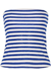 Milly Strapless Cropped Striped Cotton Blend Top Royal Blue