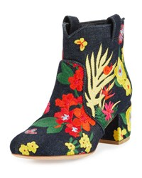 Laurence Dacade Belen Floral Embroidered Denim Bootie Dark Blue
