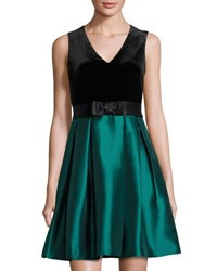 Taylor Velvet Shantung Party Dress Black Green