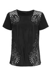 French Connection Gilly Lace Jersey Backtop Black