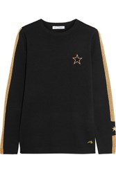 Bella Freud Libertine Embroidered Metallic Intarsia Wool Blend Sweater Black
