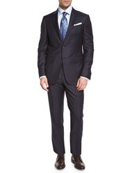 Ermenegildo Zegna Trofeo Graph Check Two Piece Suit Navy