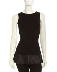 Neiman Marcus Perforated Leather Ponte Peplum Tank Black