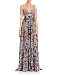 L'agence Honore Paisley Print Silk Maxi Gown Velvet Blue Combo