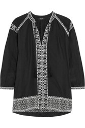 Madewell Embroidered Cotton Blouse Black