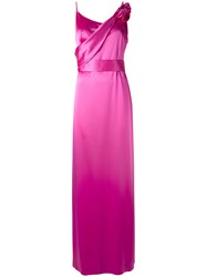 Lanvin Floral Applique Gown Women Polyester Triacetate Brass Glass 38 Pink Purple