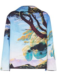 Valentino Floating Island Print Hooded Parka Blue