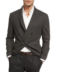 Brunello Cucinelli Double Breasted Deconstructed Jacket Dark Gray