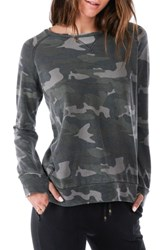 Ragdoll Women's Distressed Camo Sweatshirt Army Camo
