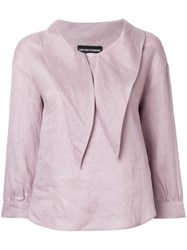 Emporio Armani Pointed Collar Blouse Pink And Purple