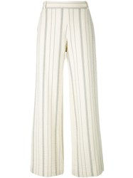 See By Chloe Striped Flared Trousers Nude And Neutrals