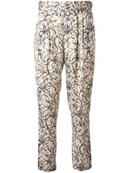 Steffen Schraut Floral Print Cropped Trousers Nude Neutrals