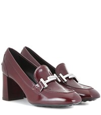 Tod's Loafer Style Leather Pumps Red