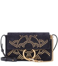 Chloe Faye Small Suede And Leather Shoulder Bag Blue