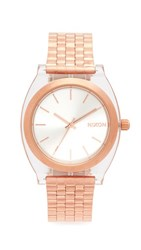 Nixon The Time Teller Acetate Watch Rose Gold Clear