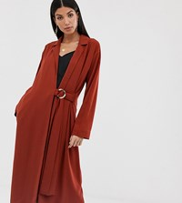 Asos Design Tall Duster Coat With Faux Shell Trim Red