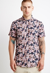 Forever 21 Daisy Print Shirt Black Pink