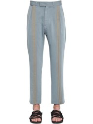 Ann Demeulemeester Pleated Viscose Cropped Pants Light Blue
