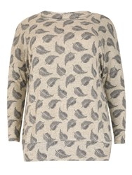 Samya Oversized Leaves Printed Top Grey