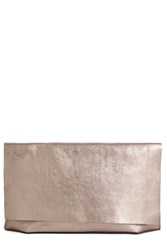 Warehouse Premium Leather Slouch Clutch Pewter