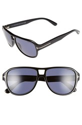 Men's Tom Ford 'Dylan' 57Mm Aviator Sunglasses Shiny Black Blue