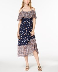Maison Jules Printed Cold Shoulder Midi Dress Created For Macy's Blue Notte Combo