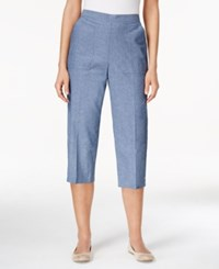 Alfred Dunner Petite Pull On Denim Capri Pants Chambray
