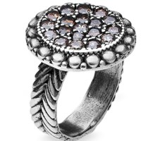 Platadepalo Silver Ring With Gold And Amber Zircon Stone Gold Brown