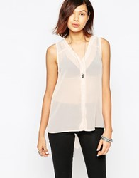 Only Sleeveless Sheer Top Pink