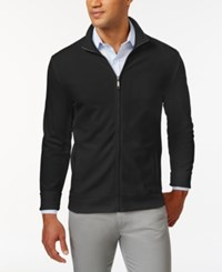 Club Room Big And Tall Long Sleeve Pique Fleece Jacket Only At Macy's Deep Black