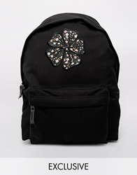 Reclaimed Vintage Floral Applique Backpack Black