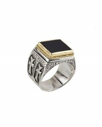 Konstantino Men's Sterling Silver And 18K Gold Signet Ring With Onyx