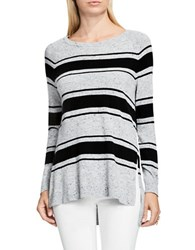Vince Camuto Long Sleeve Striped Pullover Grey