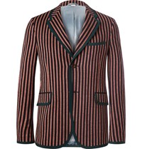 Gucci Slim Fit Striped Wool And Cotton Blend Suit Jacket Red