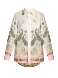 Ashish Paisley Embroidered Cotton Shirt Pink Multi