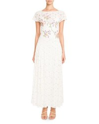 Pascal Millet Tie Back Short Sleeve Embroidered Paillette Floral Lace Dress Cream