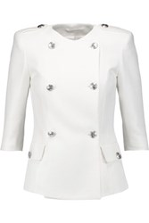 Balmain Pierre Double Breasted Cotton Blend Pique Jacket Off White