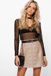 Boohoo Embroidered Leather Look A Line Skirt Taupe