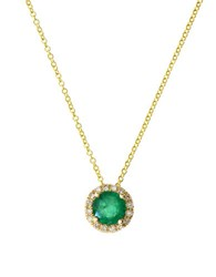 Bh Multi Color Corp. Brasilica Diamond Natural Emerald And 14K Yellow Gold Pendant Necklace